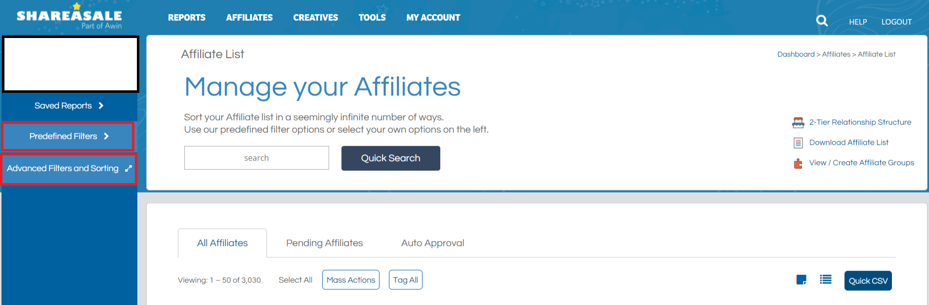 ShareASale Affiliate Filtering & Sorting